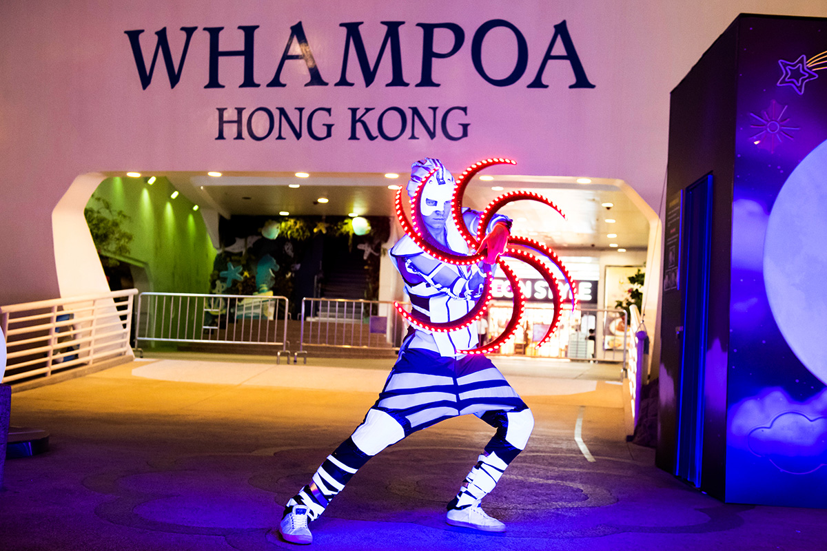 Anta Agni svetelná šou Hongkong grafický efekt