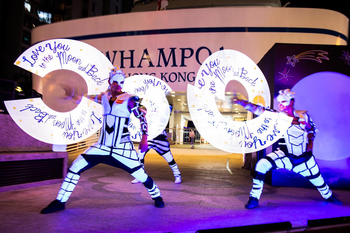 Anta Agni svetelná šou Hongkong logo žonglovanie